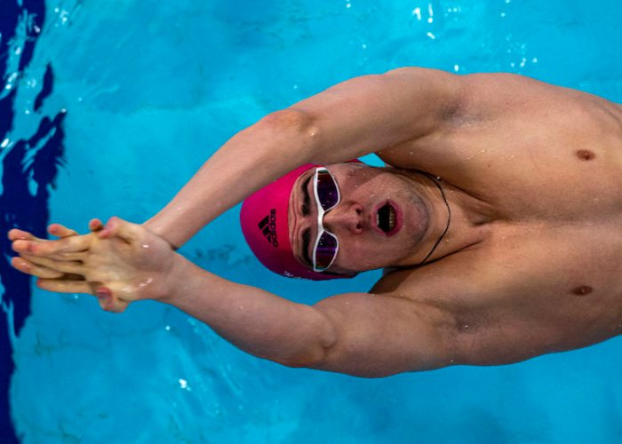 Kliment KOLESNIKOV of Russia competes in the men's 50m Backstroke Heats during the 20th LEN European Short Course Swimming Championships in Glasgow, Great Britain, Sunday, Dec. 8, 2019. (Photo by Patrick B. Kraemer / MAGICPBK)