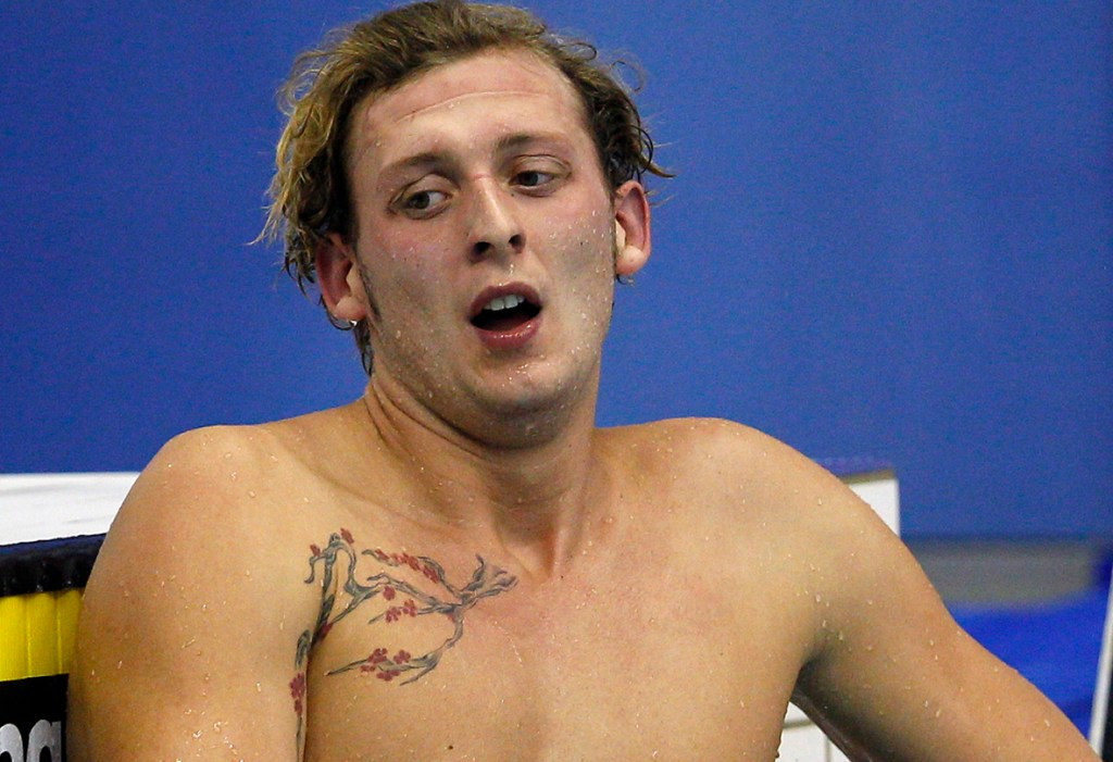 Amaury LEVEAUX of France reacts after finishing 7th in the men's 100m Butterfly Final during the 15th European Short Course Swimming Championships in Szczecin, Poland, Friday, Dec. 9, 2011. (Photo by Patrick B. Kraemer / MAGICPBK)