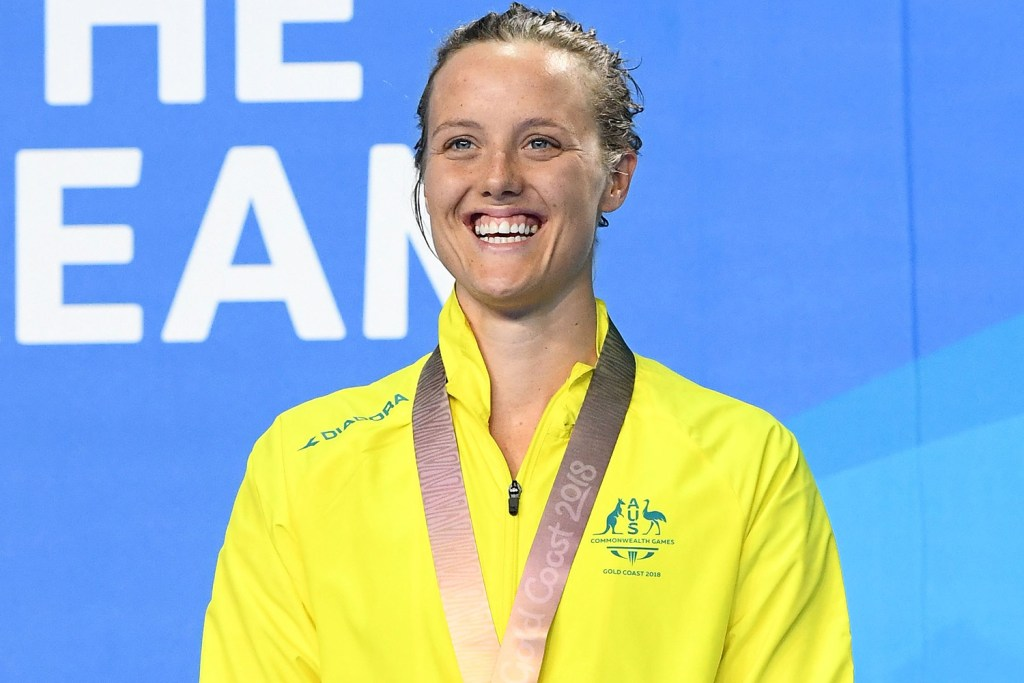 Bronze medalist Ellie Cole of Australia Women's S9 100m Freestyle Final Gold Coast 2018 Commonwealth Games