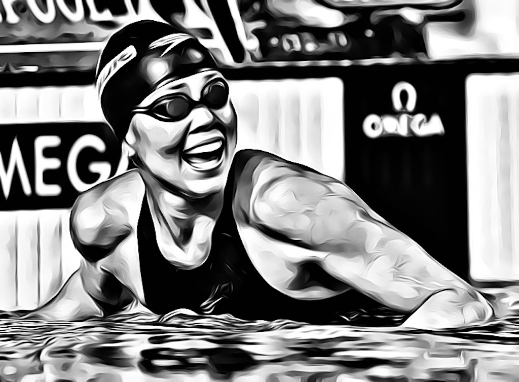 Natalie Coughlin of the USA reacts after finishing first in the Women's 100m Freestyle Semifinal 2 in the Susie O'Neill pool at the FINA Swimming World Championships in Melbourne, Australia, Thursday 29 March 2007. (Photo by Patrick B. Kraemer / MAGICPBK)