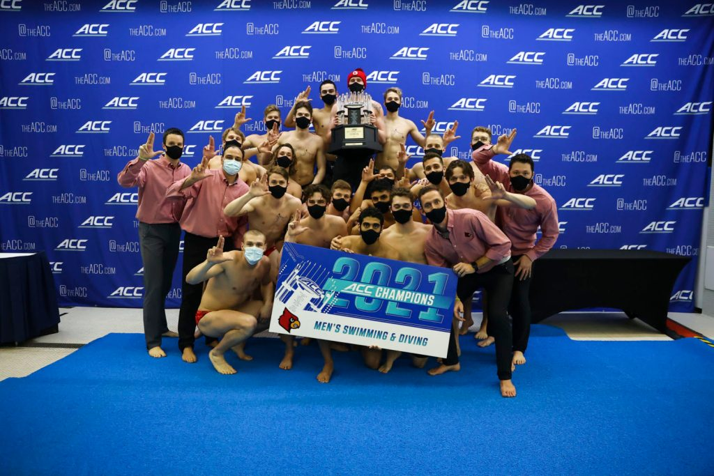 Louisville wins the 2021 ACC Men's Swimming Championship in Greensboro, N.C. Friday, Feb. 27, 2021 (Photo by Jaylynn Nash, the ACC)