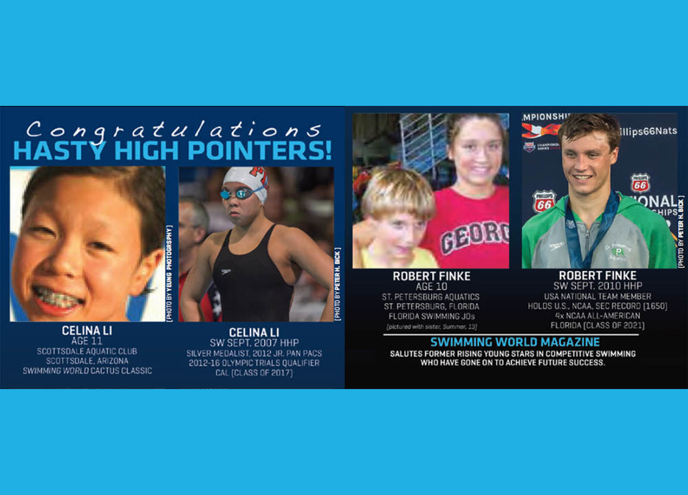 Swimming World March 2021 - Hasty High Pointers - Hasty Awards - Celina Li and Robert Finke