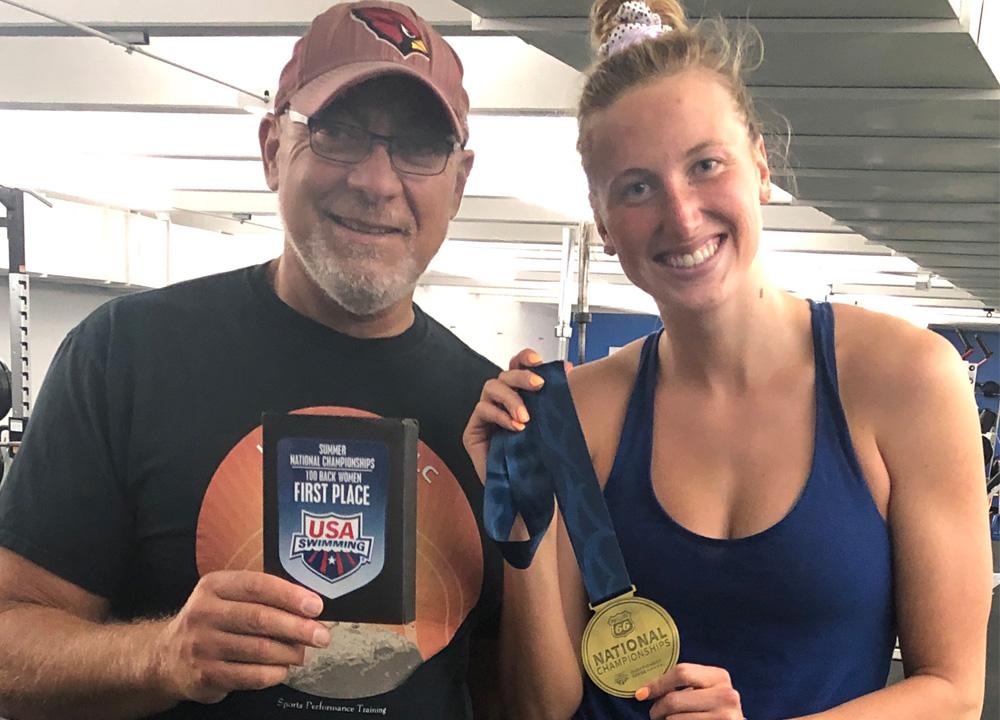 Swimming World June 2021 - Dryside Training - Training Amy Bilquist with J.R. Rosania