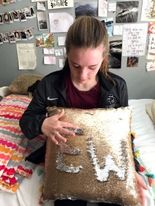 Re-writable EW monogram on a pillow made with mermaid fabric