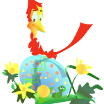 Cardinal sits atop an Easter egg illustration by Patricia Wiskur