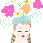 Digital art of a collectible head face with flowers