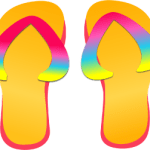 Digital art of a pair of flip flops with rainbow straps