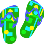 Digital art of Flip flops with circles and squares of blue, yellow and green
