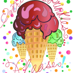 Three ice cream cones with sprinkles illustrated by Patricia Wiskur