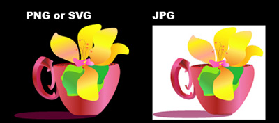 digital art example of a jpg, png, and svg image