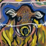 Cow Screams Fenced In. Painting in the mood of Edvard Munch