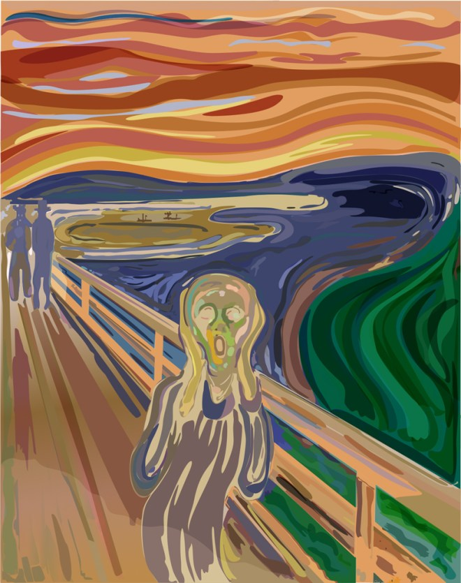 Digital transformative art in pixels of a masterpiece, Edvard Munch's The Scream