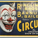 White-face clown, or a harlequin, portrait art on a Ringling Bros. and Barnum & Bailey poster