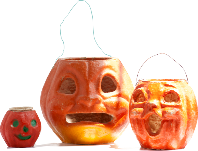 Victorian Jack-o-lanterns made of paper mache bring a smile or give a nightmare