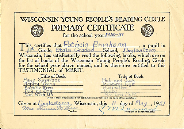 Primary Certificate from 1st grade Doylestown reading list