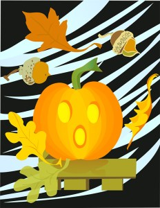 Jack-o-lantern pumpkin illustration with blowing leaves and acorns
