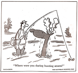 Hunting cartoon by John Gallagher from The Saturday Evening Post