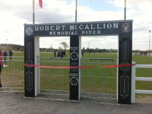 New Memorial Plaque to Swinford Pitch Entrance