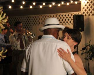 Amy and Byron doing balboa at Sharon's Birthday Party