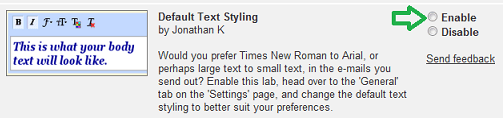 Default Text Styling
