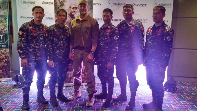 Joel Lambert with members of the Philippine Army Scout Rangers