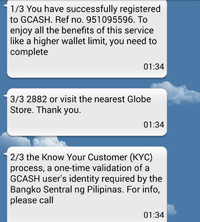 GCash Registration SMS