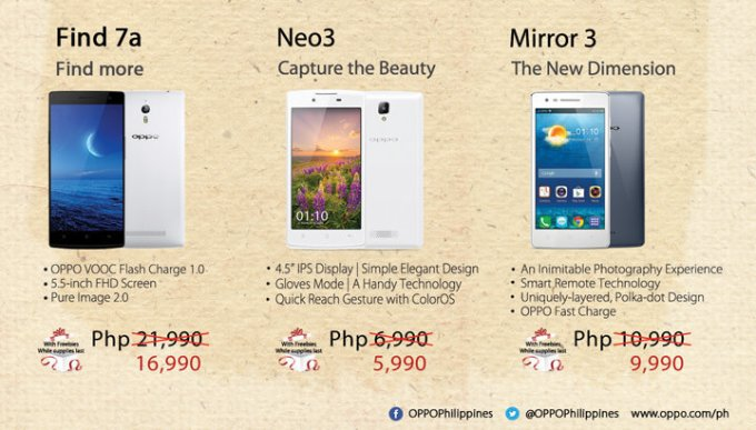 OPPO Find 7a, OPPO Joy Plus, OPPO Mirror 3