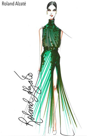 """Filipino style purveyor Roland Alzate shows a sketch of one of the design pieces for his holiday collection titled """"My Automne Hiver 2015"""" to be featured at the Philippine Fashion Week on June 12-14 at the SM Aura Premier. Roland's creations will be presented on the runways with powerbanks made by Gosh!. """"My 2015 holiday collection is very sophisticated and controlled, distinctive features that are also evident in the Gosh! Powerbanks Series—the elements of design, texture, volume and beauty intertwine well,"""" says Roland."""