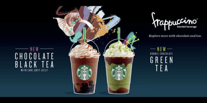 Starbucks new frappuccino, Chocolate Black Tea with Earl Grey Jelly, Double Chocolate Green Tea