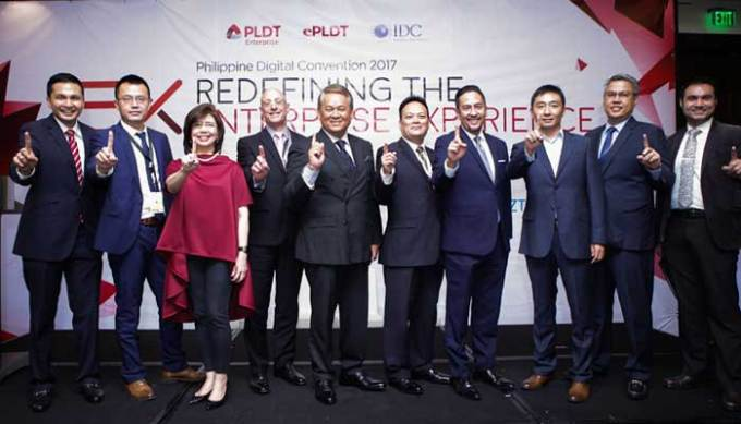 ​L-R: PLDT VP & Head of Disruptive Business Group, Nico Alcoseba, ZTE President, Michael Fu, ePLDT Chief Operating Officer, Nerisse Ramos, Checkpoint Software Services Director for Channels & Strategic Alliances for Asia, Middle East & Africa, Gary Kinsley, Chief Revenue Officer of PLDT & Smart and ePLDT President & CEO, Eric Alberto, Cisco Country Manager, Enri Rodriguez, SVP and Head of PLDT & Smart Enterprise Groups, Jovy Hernandez, Huawei PH Account Director, Arthur Wang, PLDT VP & Head of Enterprise Core Business Solutions, Jojo Gendrano, and IDC Country Manager Sudev Bangah