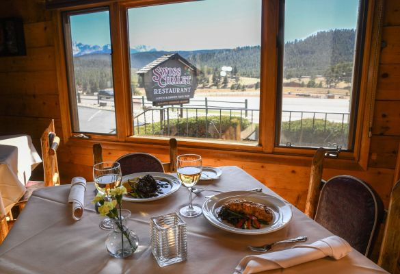 Swiss Chalet offers amazing dinners and beautiful view of Pikes Peak