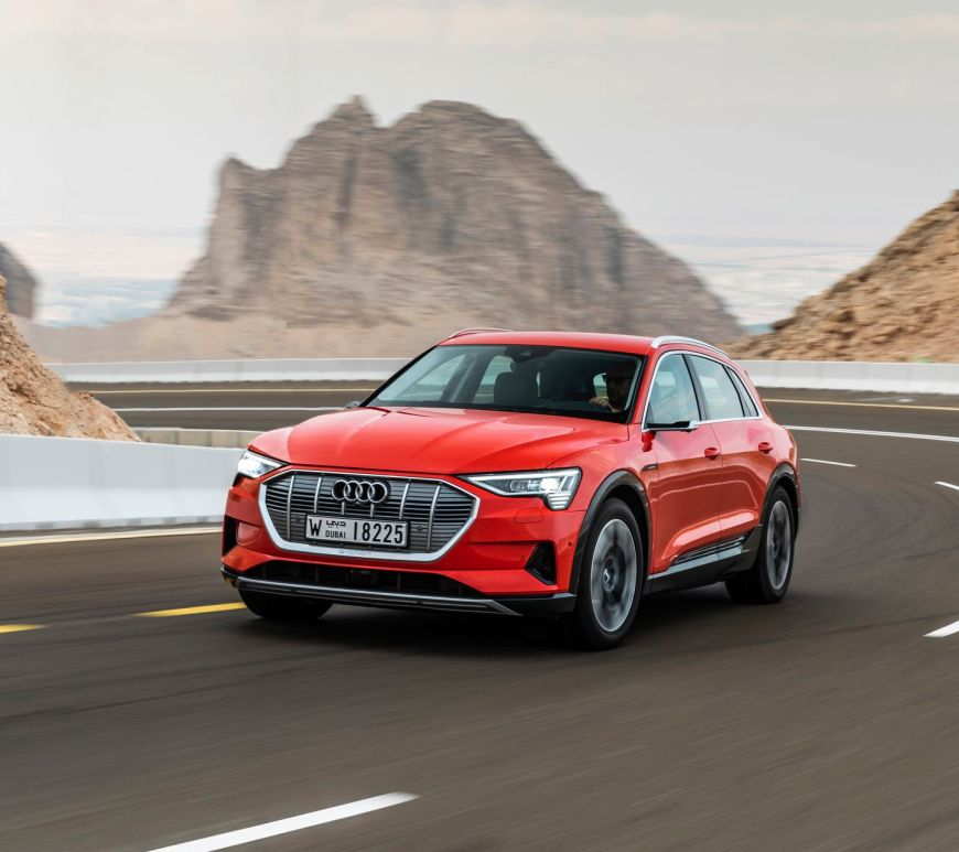 The Audi e-tron in Abu Dhabi in Catalunya Red.
