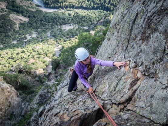 Anya climbing local rock