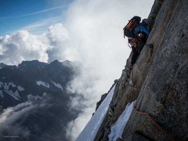 Climbing rock in crampons