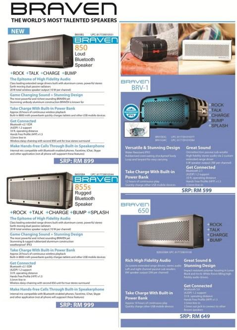 Braven 850 price list