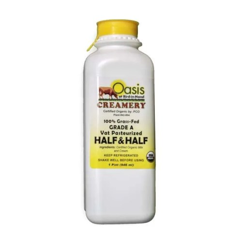 1 Pint Organic Pasteurized Half & Half From Oasis