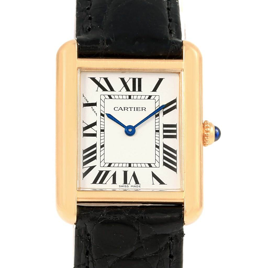 Cartier Tank Solo Yellow Gold Steel Black Strap Ladies Watch W1018755 16081 Cartier Tank Solo Yellow Gold Steel Black Strap Ladies Watch W1018755  SwissWatchExpo