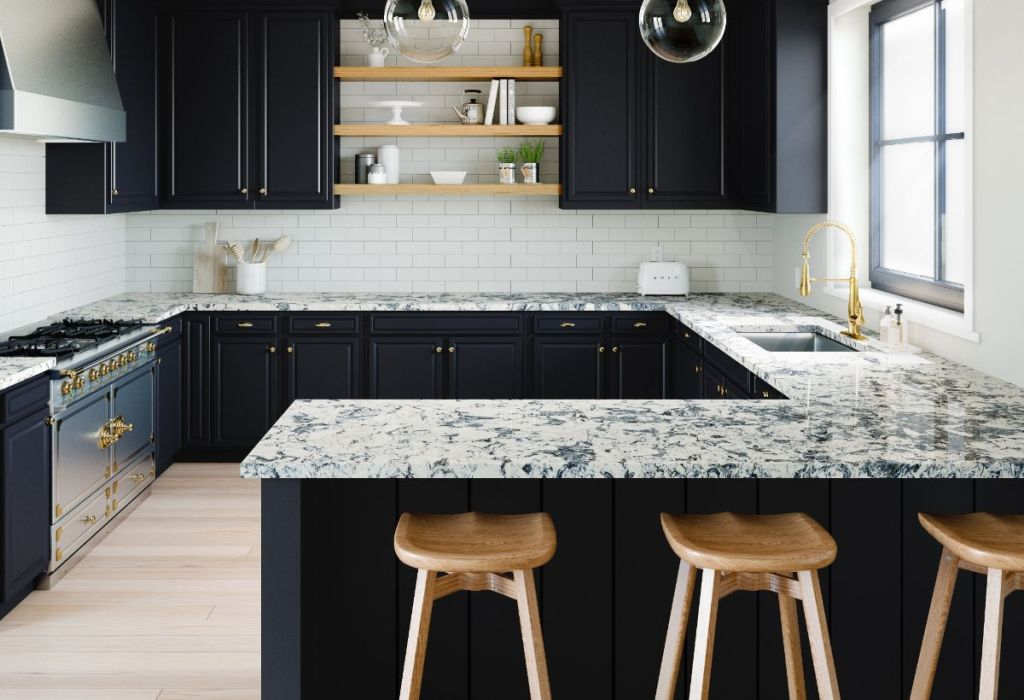Painted kitchen cabinets and floating shelves create modern feel