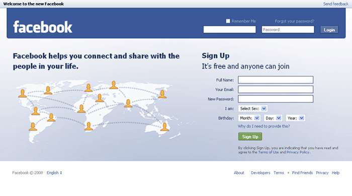 Facebook welcome page sign in