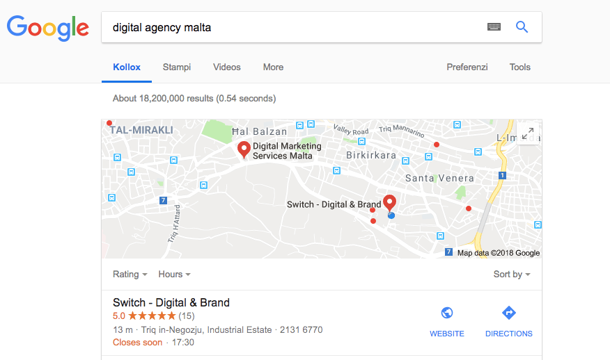 Switch in Search Engine REsults