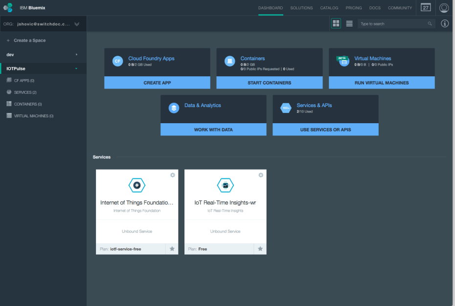Bluemix Dashboarcd