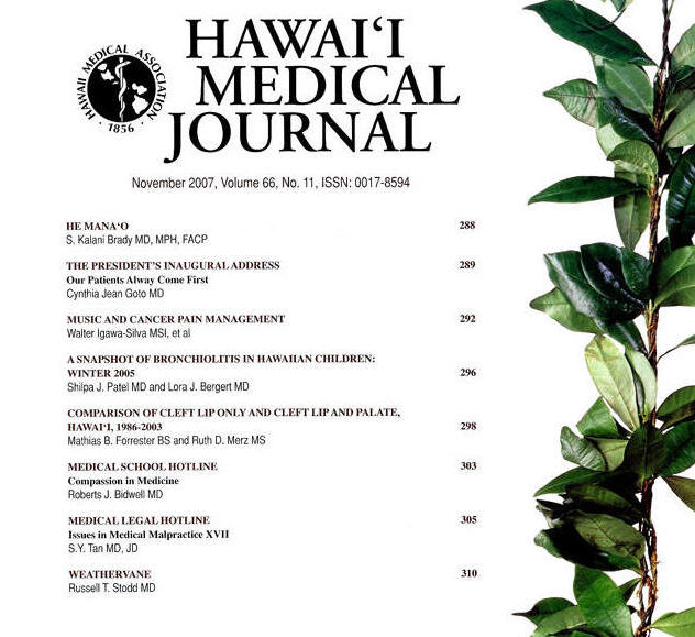 Hawaii Medical Journal-Music and Cancer Pain Management