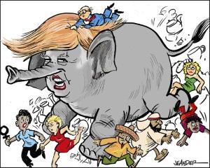 Donald Trump som en elefant i en porslinsbutik