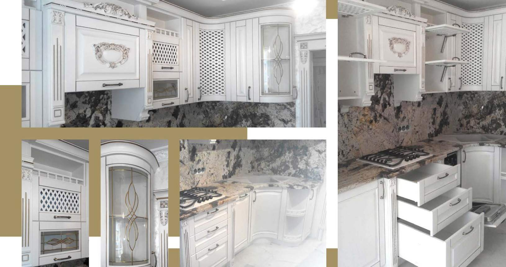 Кухня белая классическая