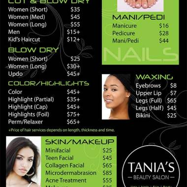 Tania's Salon Pricing Poster