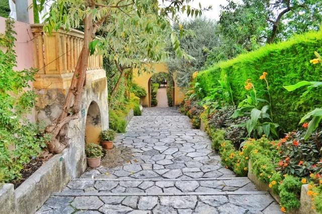 Garden walkway, Rothschild Villa, Nice, France