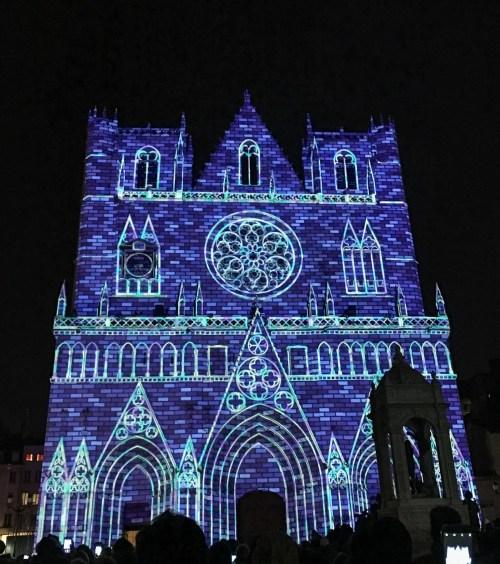Saint Jean Cathedral at la Fête des Lumières in Lyon, France