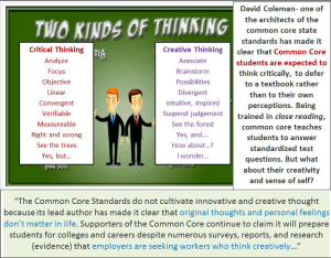 Critical Thinking or Creative Thinking – Which does Common Core support?