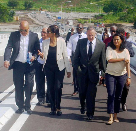 """""""The Prime Minister was joined by the Prefet of St. Maarten M. Philippe Chopin in receiving a tour of the Simpson Bay Causeway by Harbor CEO Mr. Mark Mingo"""""""
