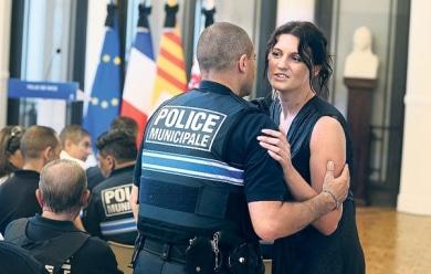 Sandra Bertin à la mairie de Nice, vendredi. (Eric Dessons/JDD)